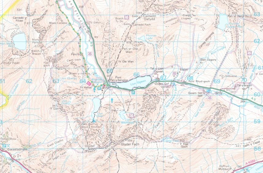 Map o Cwm Idwal